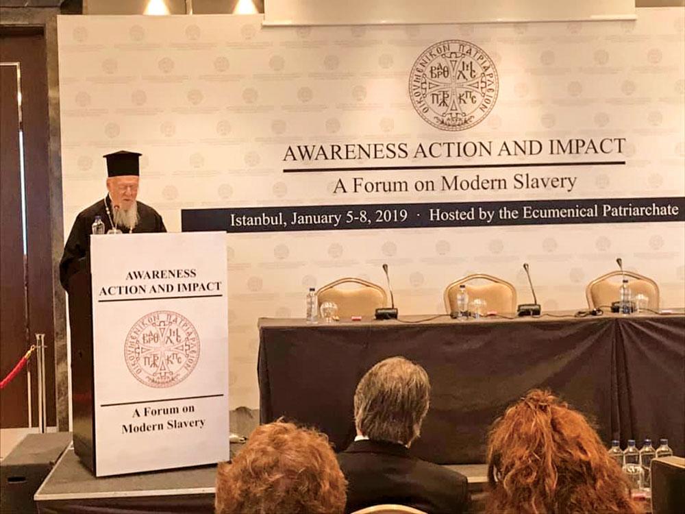 Patriarhul Ecumenic, la o întâlnire dedicată sclaviei moderne