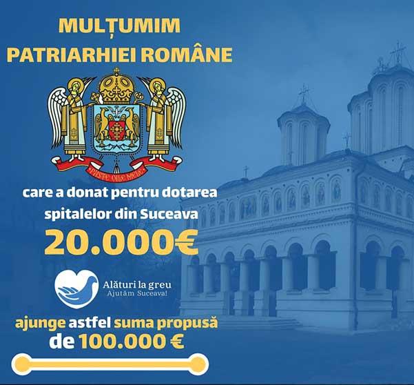 Donație a Patriarhiei Române pentru achiziționarea de echipamente medicale destinate spitalelor din județul Suceava