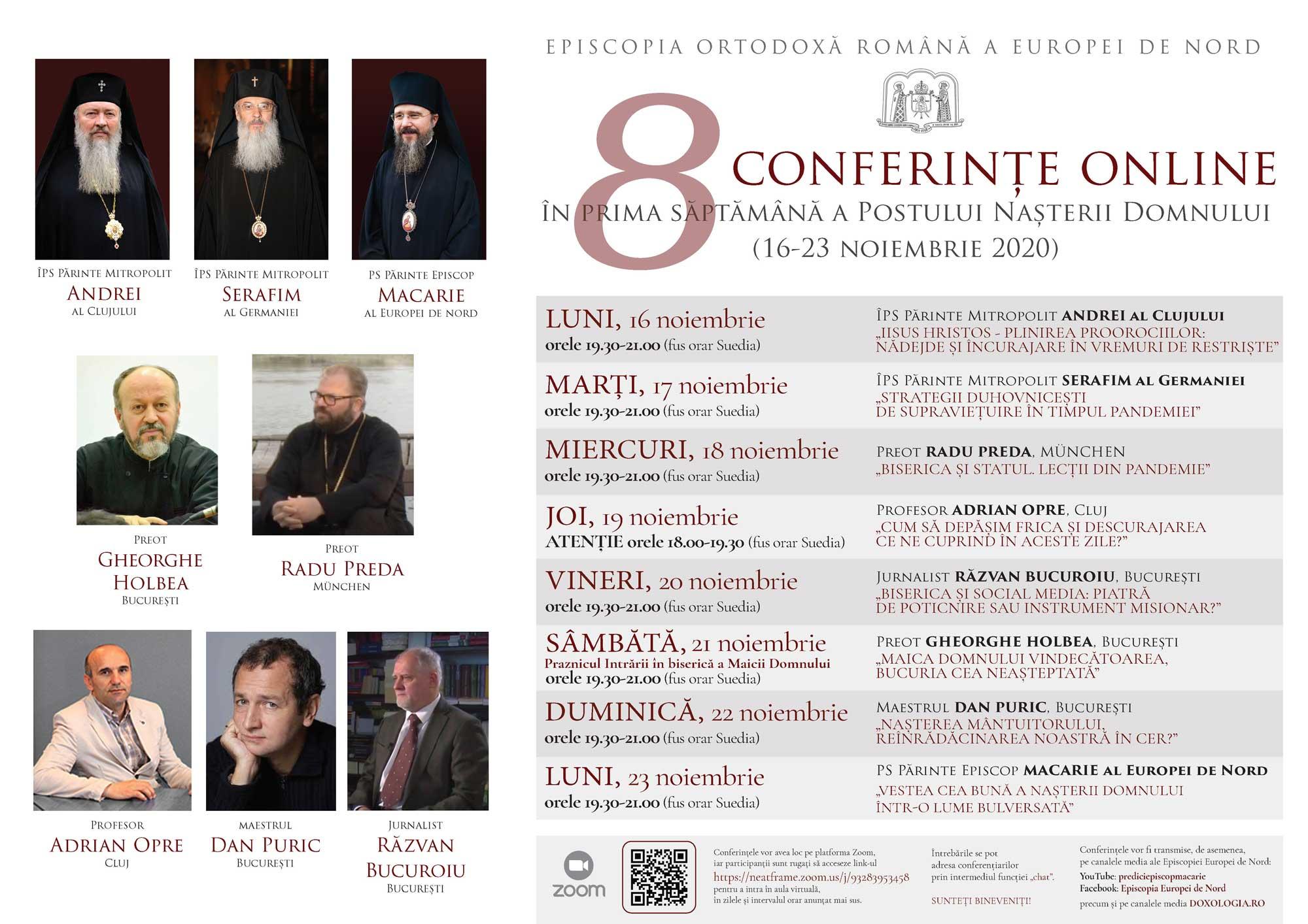 8 conferințe on-line organizate de Episcopia  Ortodoxă Română a Europei de Nord